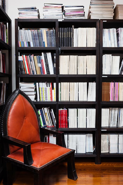 The Smith offices boast a serious periodical reference library, which includes rows of auction catalogs from Christie's and issues of Architectural Digest dating back to the '70s.