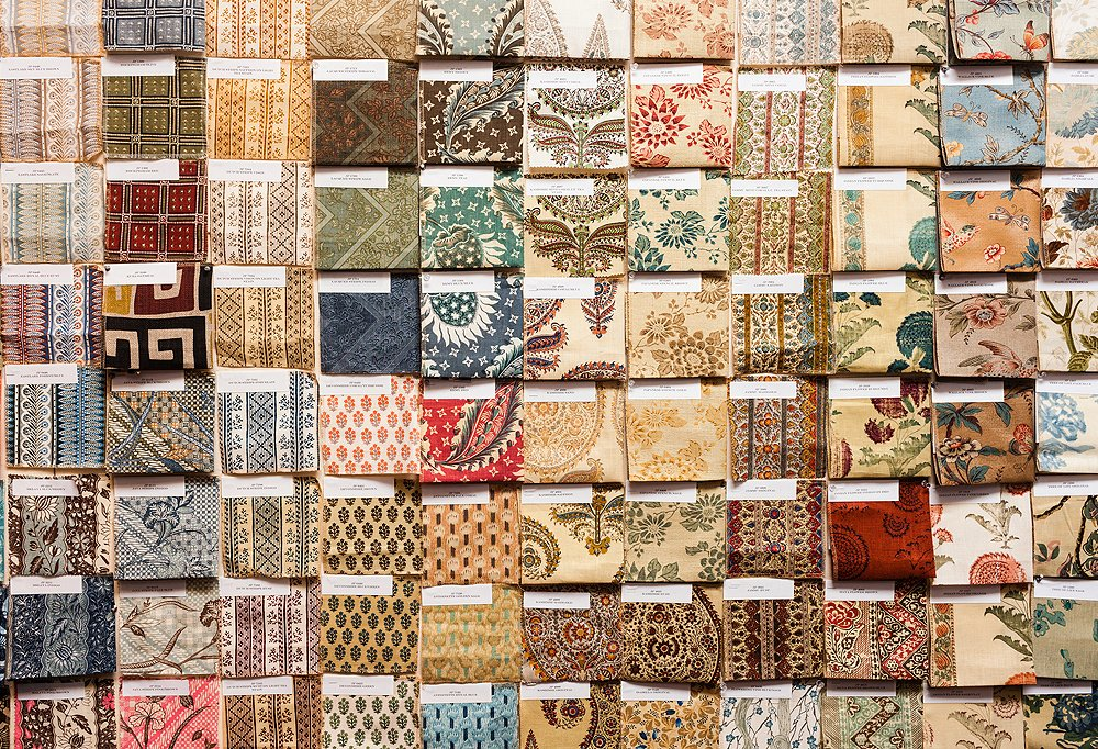 A wall of swatches from Smith's Jasper line of fabrics.