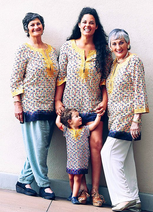 Justina with four amazing generations: her mom, her grandma, and her daughter, Ida.