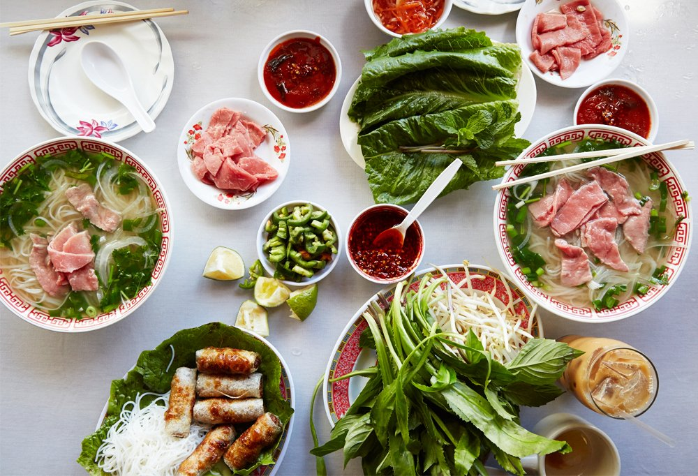 All the makings for a delicious bowl of pho (Vietnamese noodle soup) from Pho To-Chau in Honolulu's Chinatown. Drooling yet?