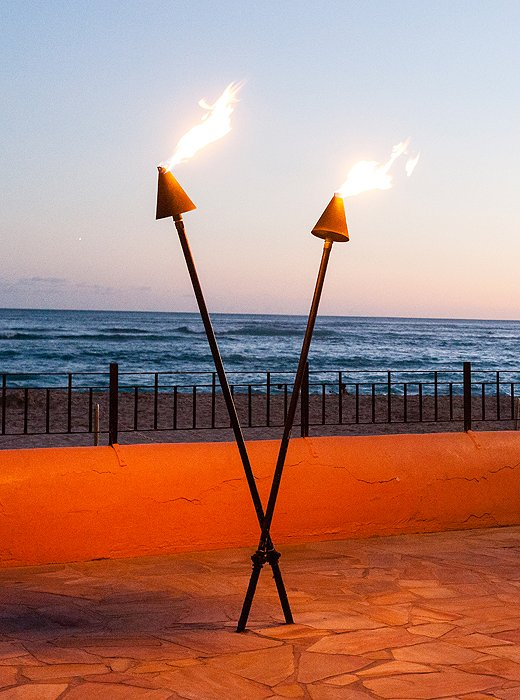 Lit torches signal that it's time for a luau!