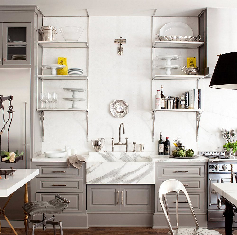 10 gorgeous takes on open shelving in kitchens for Open style kitchen cabinets