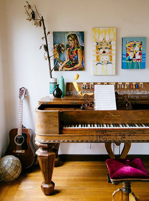 A peek inside the home of Erica Tanov, one of our favorite designers, where a family-heirloom piano is complemented by colorful paintings and collages.