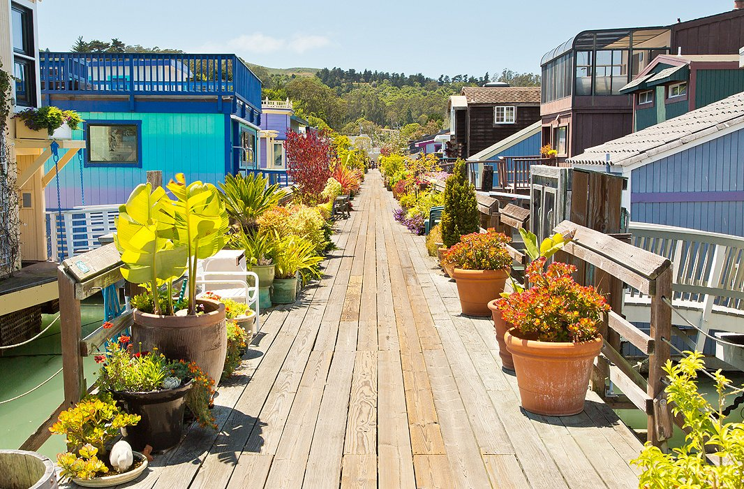 Each row of houses is moored around a central walkway lined with vibrant plants in a variety of planters, since proper yards are for landlubbers.
