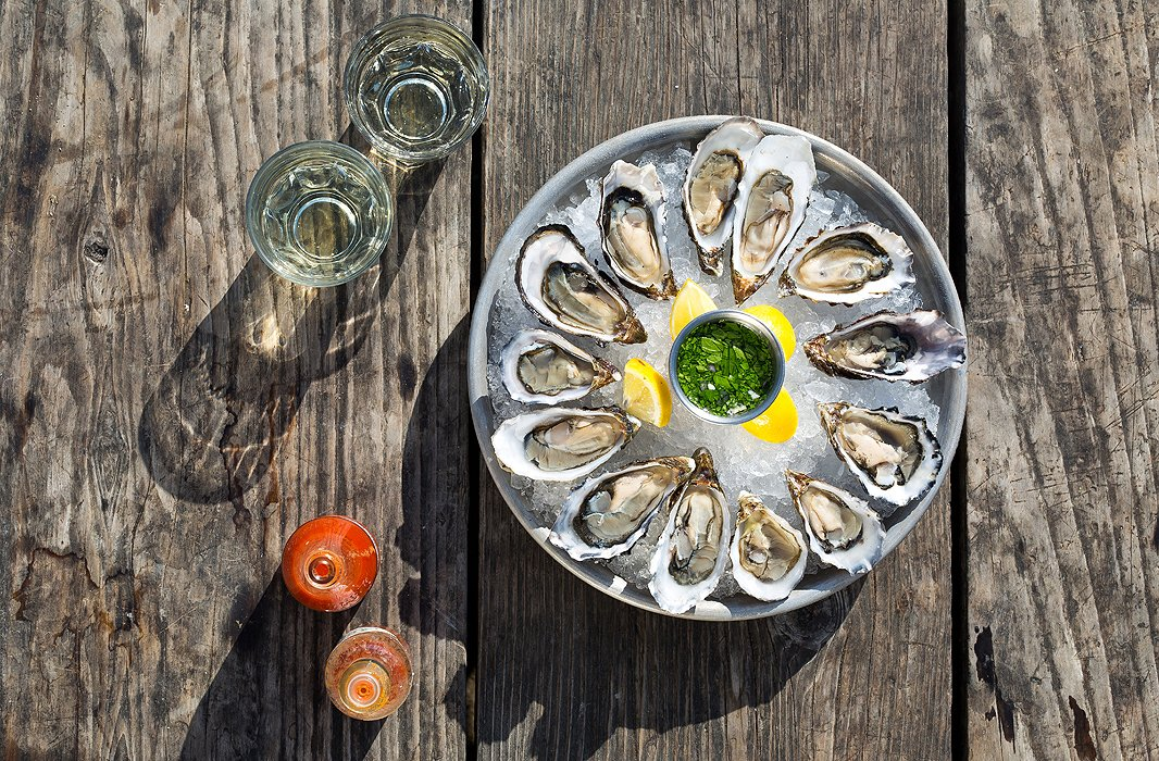 Nothing goes better with a plate of Hog Island Sweetwaters (its signature Pacific oysters grown right on site) than a side of Hog Wash, its house-made mignonette.