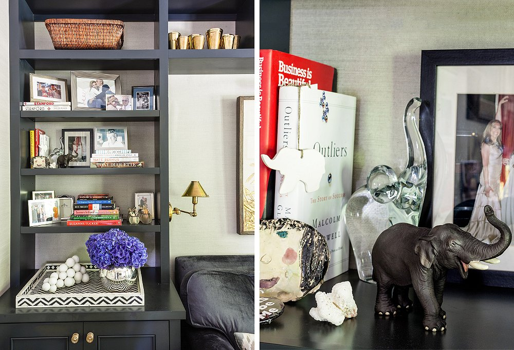 "When it comes to styling your shelves, stack books for height; play with shape, scale, and texture; and group like items together (as Susan has done with her ""herd"" of elephants, a collection inspired by OKL's logo)."