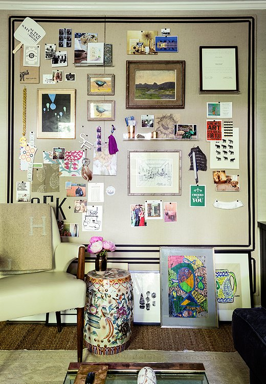 "A few of Susan's favorite things hang out on her new inspiration board—a linen-wrapped composite Homasote board. Propped against the wall below it is a revolving ""gallery"" of art, an effortlessly cool display for rooms short on wall space."