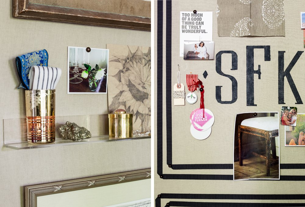 The most visually compelling mood boards live by these words: variety, dimension, and personality. Susan's board incorporates a mishmash of photos, fabric, and found items, Lucite shelves for a 3-D effect, and her initials painted monogram-style.