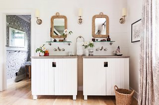 Ordinaire The Master Bathu0027s Rope Framed Mirrors, Wood Paneling, Vintage Inspired  Hardware,