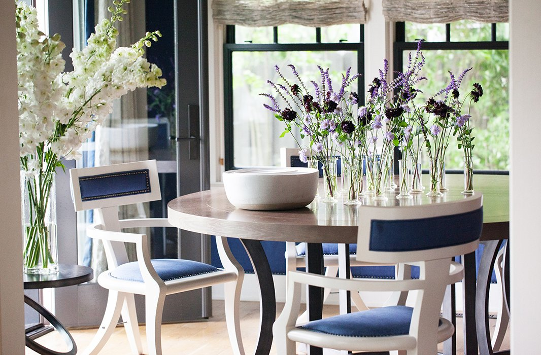 A few stems ofpincushion flowers mixed with sprigs of lavender would make for a fairly wispy arrangement, but when you split them up into individual vasestheymake a showstopping tabletop moment.