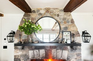 Nautical Hardware And Rope Make The Dramatically Oversize Modern Mirror  Above The Fireplace Feel Natural In