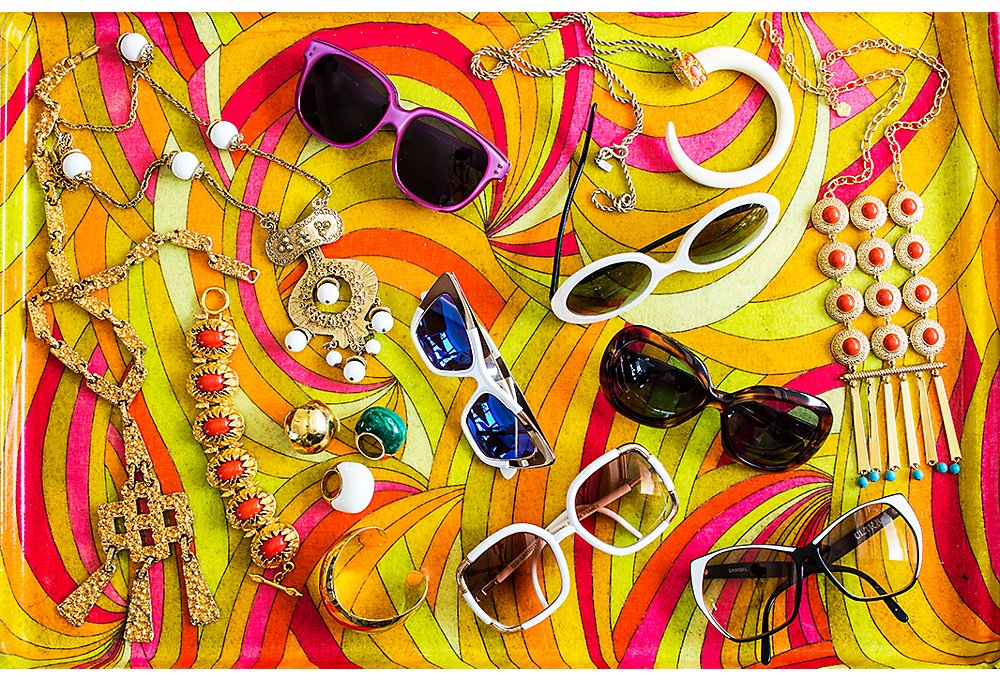 Just some of Trina's treasure trove of vintage sunglasses and jewelry.