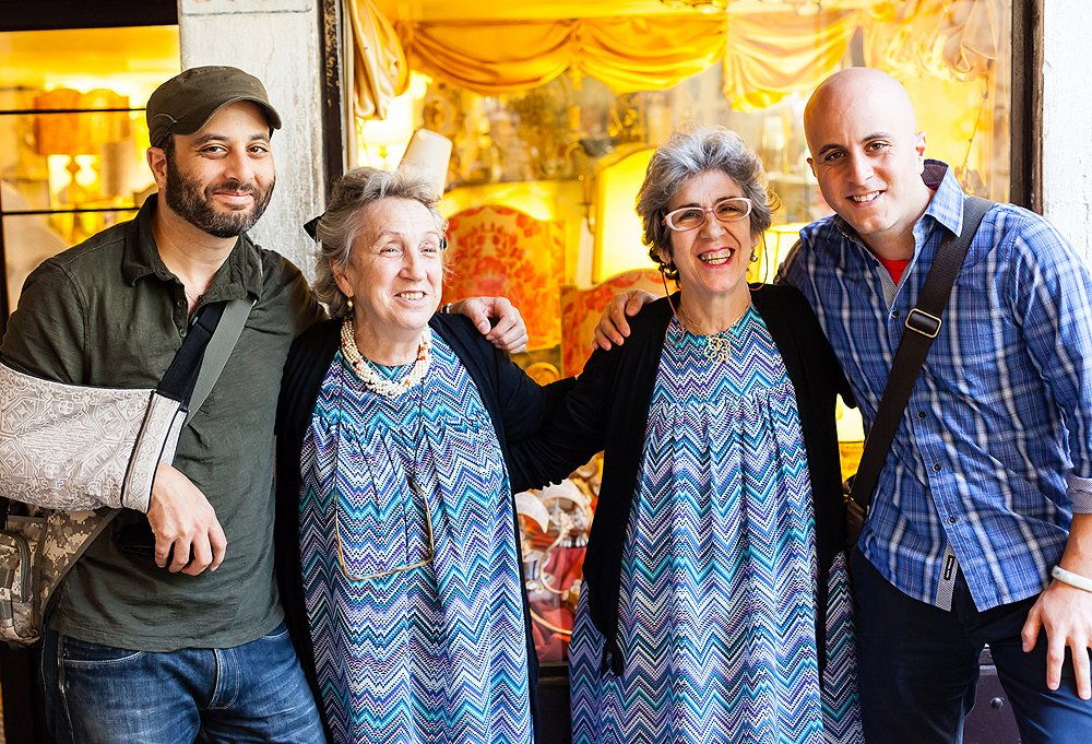 Two sets of stylish siblings! Maury and Mickey sayformaggio! with sisters Angela and Rita, of Angela Rosa Greco, a small shop frequented by top interior designers for its handcrafted lampshades.