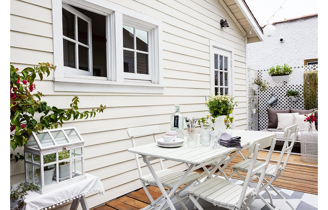 These simple and classic white bistro sets are lightweight enough to move around the garden and bring indoors.