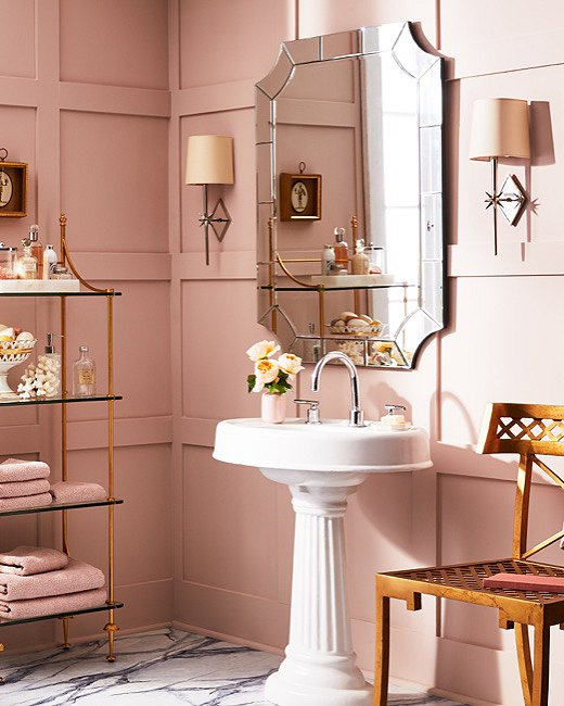 This all-pink bathroom makes a fun and pretty statement. Opting for a single color makes for a more manageable moment of color.