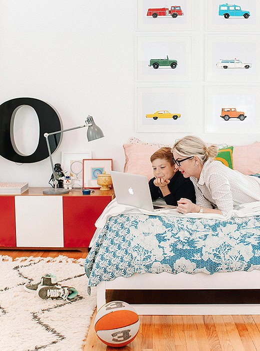 Oden's room embraces one of the couple's core beliefs about children's rooms: less furniture, more floor space for playing with Legos.
