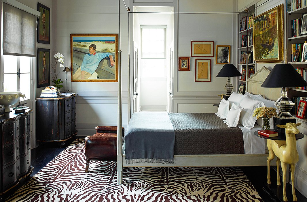 "Peter Rogers used a bold brown-and-white zebra carpet for the floors, where the book points out it ""cannot distract from sleep."" Photo by Eric Piasecki."