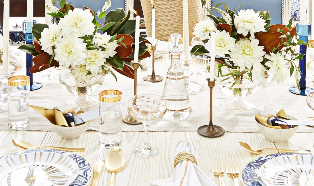A mix of gold, glassware, and blue-and-white is the perfect choice for a fabulous Hanukkah table. Photo by Manuel Rodriguez.