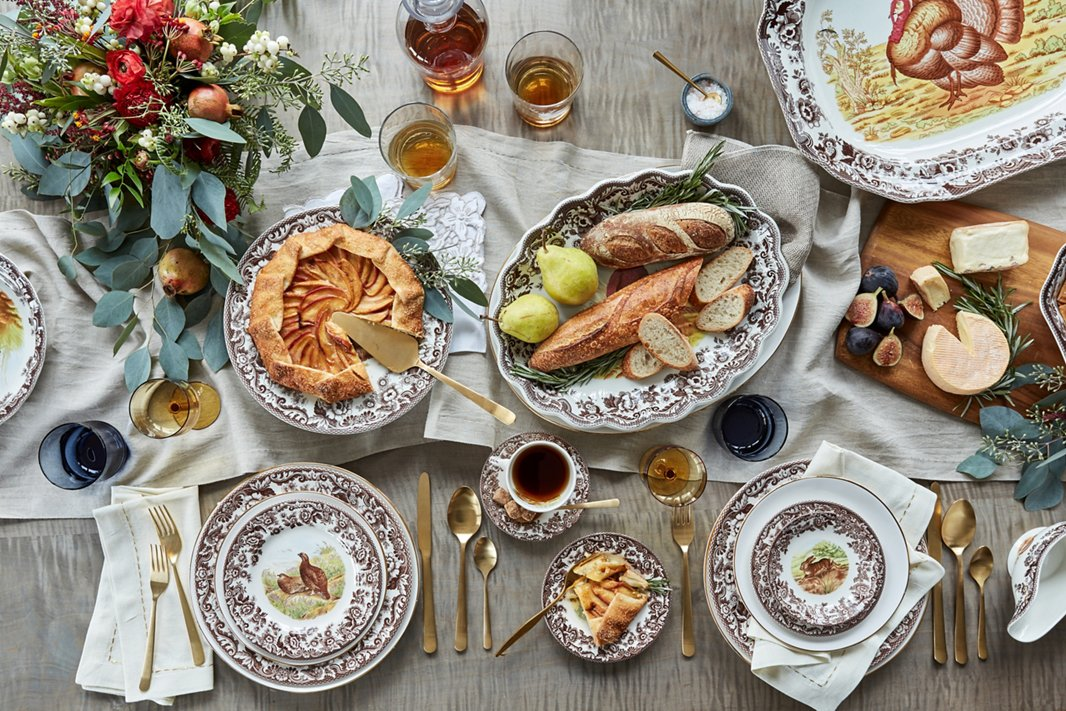 Spode's Woodland collection has been a Thanksgiving classic for more than 20 years. Pair it with a linen runner and simple serveware for a charmingly elegant tablescape.