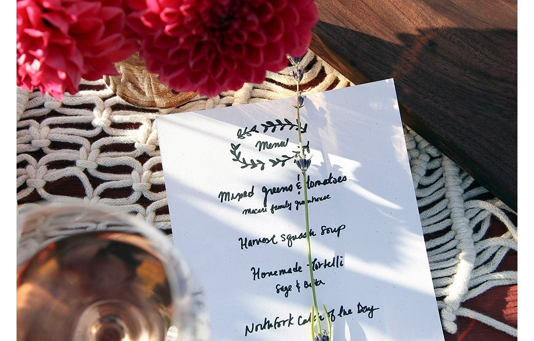 Handwritten menus detailing the delicious dishes prepared by chef Edward Macari (grandson of the vineyard's original owner, Joseph Macari, Sr.)are accompanied by a sprig of local lavender.