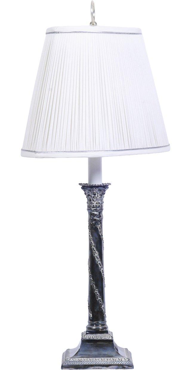 19th-C. Silverplate Candlestick Lamp