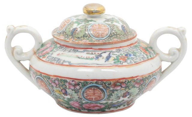 Chinese Coin Pattern Sugar Bowl
