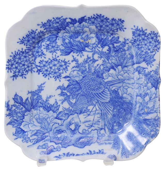 Transferware Celadon Square Plate