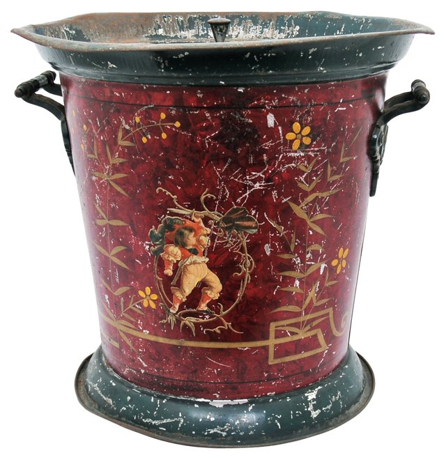 19th-C. Covered Tole Bucket