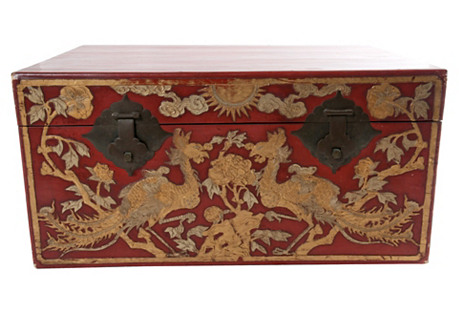 Red & Gold Lacquered Trunk