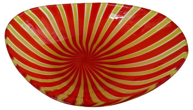 Murano Red & Yellow Glass Dish
