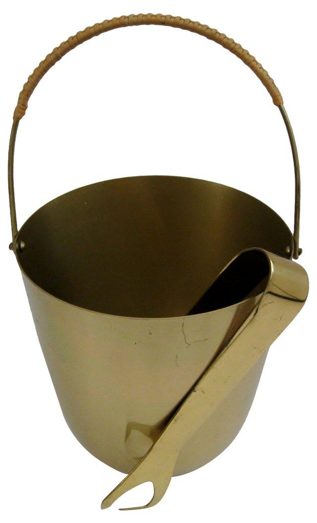 Brass Ice Bucket w/ Tongs