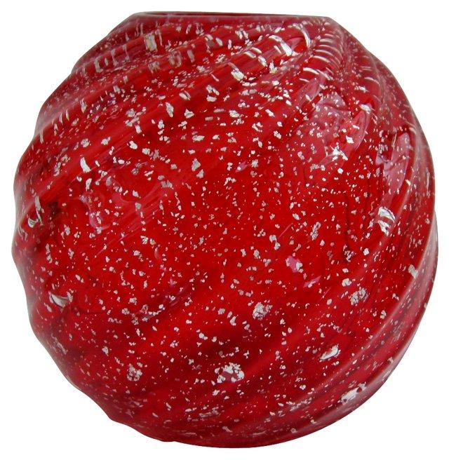 Red Murano Globe Vase