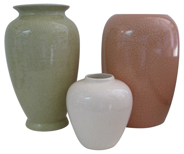 Crackle Glaze Ceramic Vases, S/3