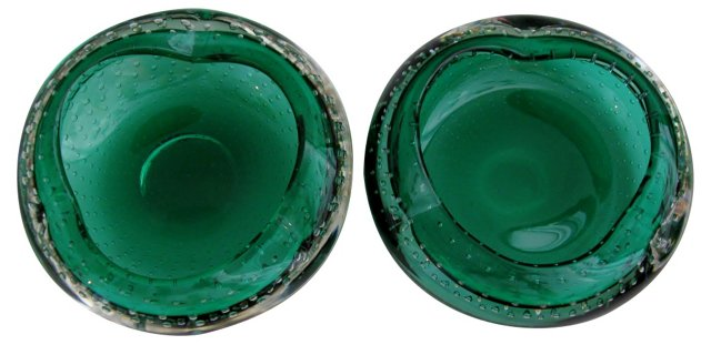 Emerald Murano Ashtrays, Pair