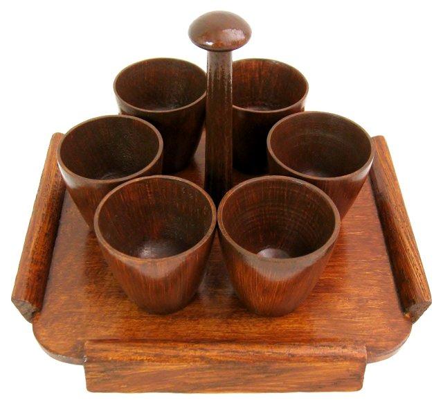 Wood Egg Cups & Holder, 7 Pcs