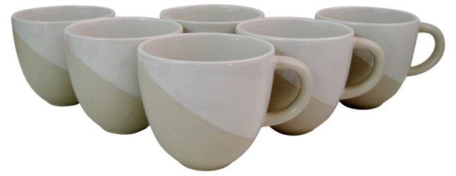 Cream Ceramic Mugs, S/6