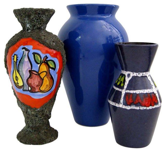 Ceramic Vases in Blues & Gray, S/3