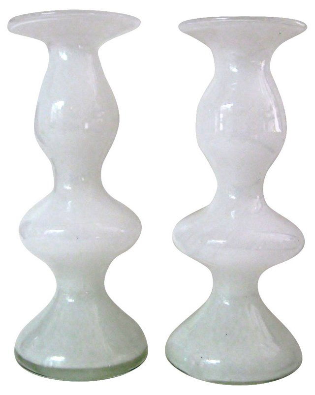 Glass Candlestick-Shaped Vases, Pair