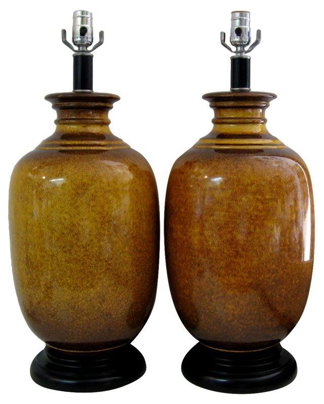 Yellow & Brown Ceramic Lamps, Pair