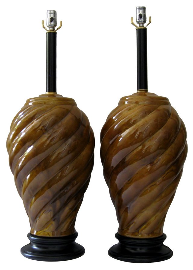Ochre   Ceramic Lamps, Pair