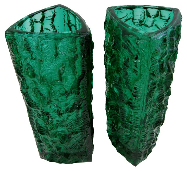 Midcentury Triangle Vases, Pair