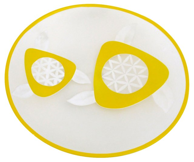 Orrefors Sunny Yellow Flowered Dish