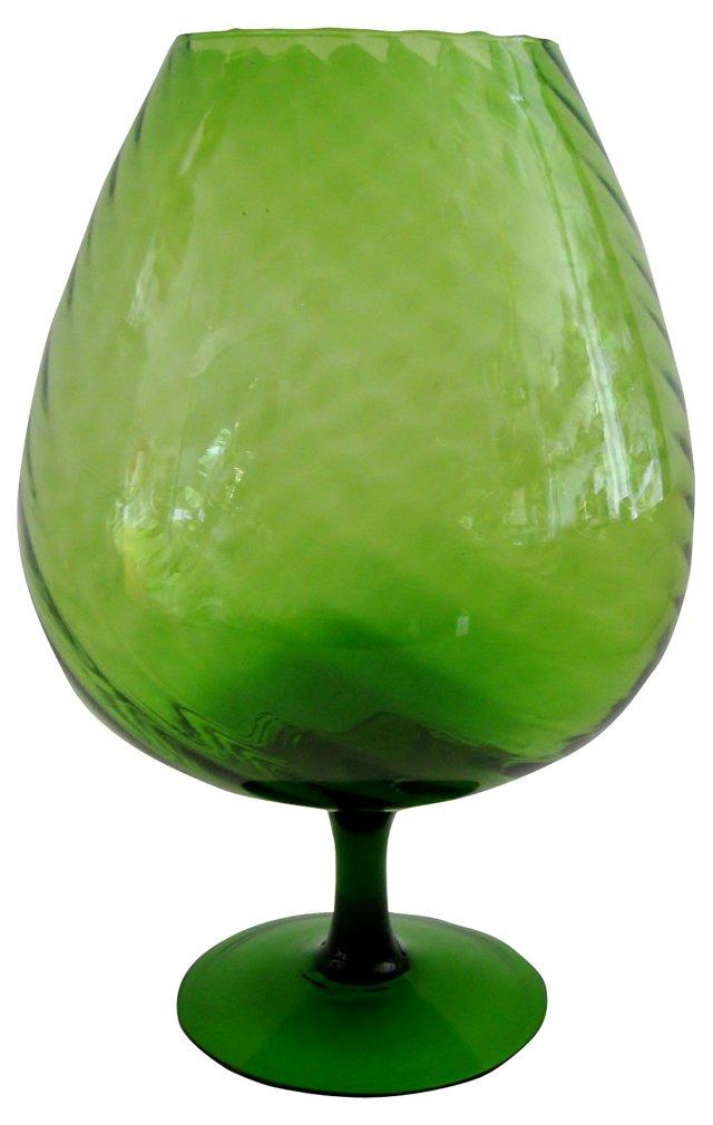 Green Optic Glass Goblet Vase