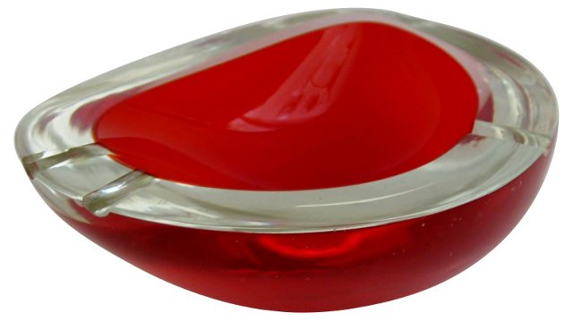 Murano Red Geode Ashtray