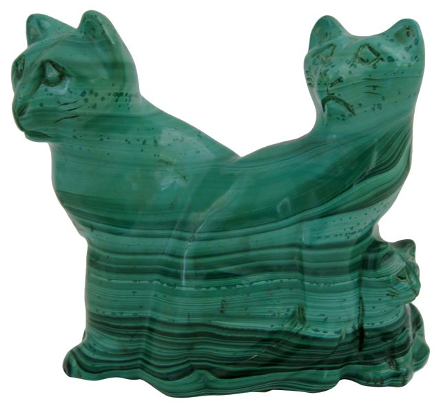 Carved Malachite Cats