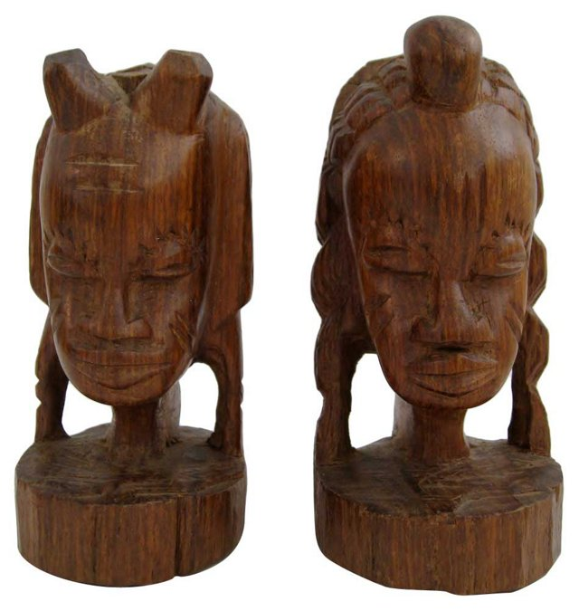 African Olive-Wood Heads, Pair