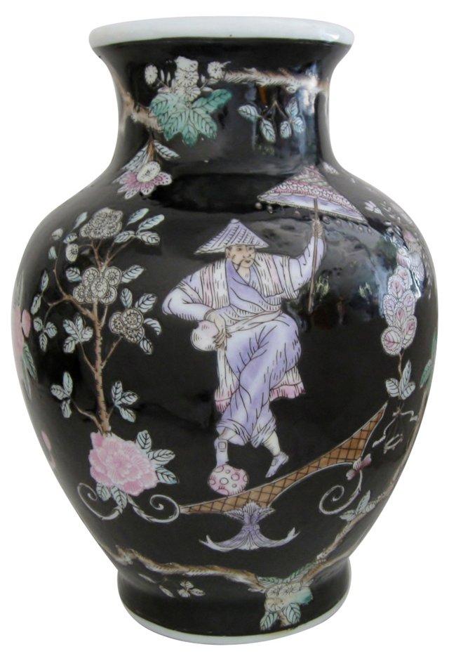 Black Hand-Painted Porcelain Vase
