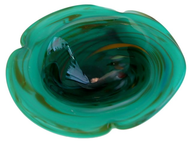 Teal Cased Glass Murano Bowl