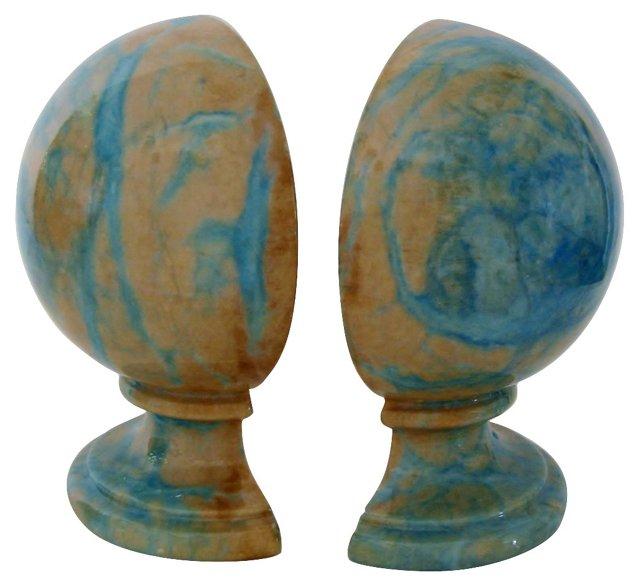 Blue & Tan Alabaster Bookends