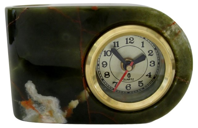 Green Marble Desk Clock